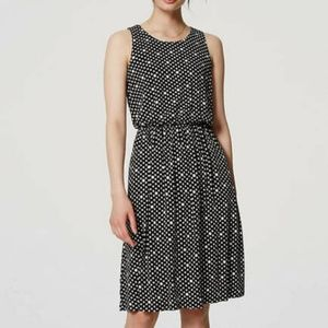 LOFT Black Sleeveless Dotted Blouson Dress